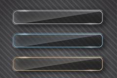 4款玻璃质感长条banner矢量图