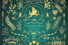 38款金色婚礼花纹矢量图