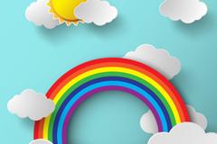 云朵与彩虹剪贴画矢量素材