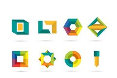 12款彩色立体标志设计矢量图