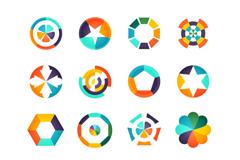 16款彩色标志设计矢量素材