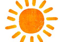 橙色手绘太阳矢量素材