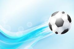 动感蓝色曲线和足球矢量图