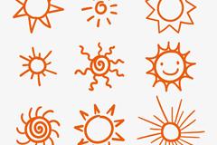 9款手绘太阳矢量素材