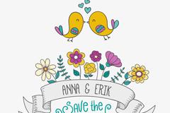 卡通花卉和鸟婚礼邀请海报矢量图