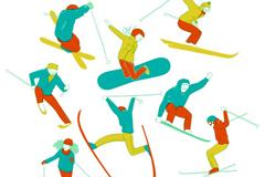8款彩绘滑雪姿势设计矢量图