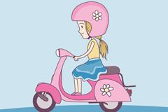 骑粉色电动车的女孩矢量图