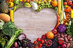 蔬菜水果组合心形高清背景图片