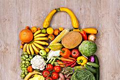 蔬菜水果拼合背包形状高清图片