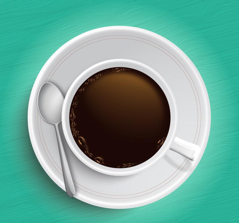 美味咖啡俯视图矢量素材