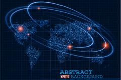 世界地图与宇宙行星轨道矢量图