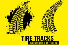 2款黑色轮胎印设计矢量图