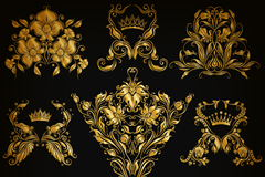 9款金色花纹设计矢量素材