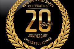 金色20周年纪念标签矢量图