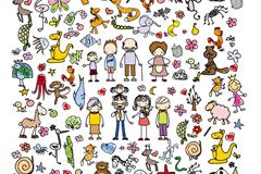 91款手绘人物和动植物矢量图