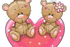 坐在爱心上的情侣熊矢量图