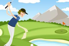 打高尔夫的男子插画矢量素材