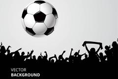 黑白足球和人群剪影矢量图