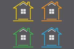 4种彩色房屋标志矢量图