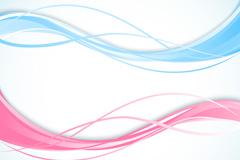 2款彩色波浪线设计矢量图