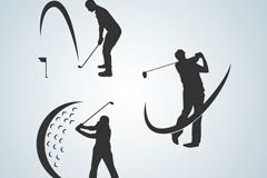 3款高尔夫球手剪影矢量素材