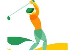 抽象彩色高尔夫球手矢量图