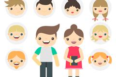 10款卡通人物和头像矢量素材