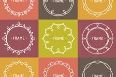 9款彩色花纹框架矢量图