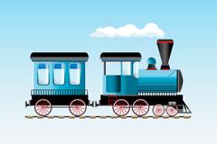 卡通蒸汽火车矢量图