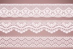 4款白色蕾丝花纹边条矢量图