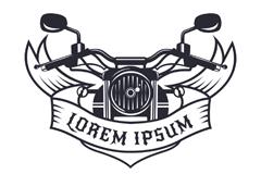 手绘摩托车头和丝带标志矢量图
