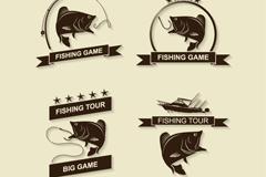 4款精致钓鱼标志矢量素材