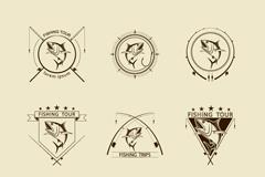 9款精美钓鱼标志矢量图