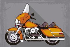 时尚橙色复古摩托车矢量素材