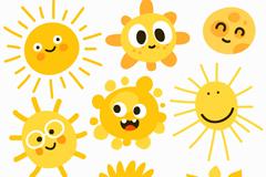 9款可爱卡通太阳矢量素材