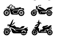6款时尚摩托车剪影矢量素材