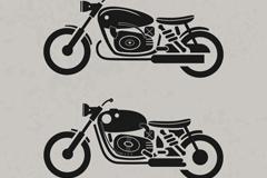 2款时尚摩托车剪影矢量图