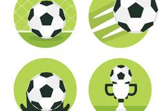 4款黑白足球图标矢量素材
