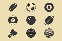 12款球类图标矢量素材