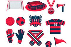 14款红色足球元素矢量素材