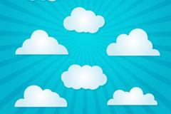 8款白色云朵设计矢量图