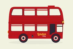红色伦敦双层巴士矢量素材