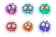 9款卡通细菌球矢量素材
