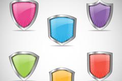 6款彩色质感盾牌矢量素材