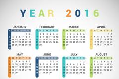 2016年彩色年历矢量素材