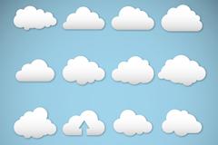 16款白色云朵设计矢量素材