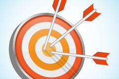 射中的橙色箭靶矢量素材