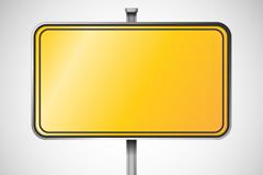 黄色空白指示牌矢量图