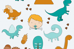 男婴头像和恐龙矢量素材