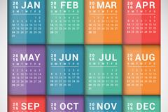 2016彩色长方形年历矢量图